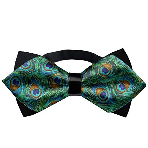 COLORFULSKY Peacock Feathers BowTie Gift Pre-tie Party Teen Oufits ()