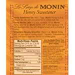 Monin - Honey Sweetener, Rich and Smooth, Great for Teas and Cocktails, Gluten-Free, Non-GMO (1 Liter) 4 GREAT FOR TEAS AND COCKTAILS: Our Honey Organic Sweetener boasts all of the rich clover notes you crave with a unique formula that allows it to dissolve quickly making for mouthwatering teas, lemonades, specialty cocktails, coffee drinks and more. TASTING NOTES: Featuring true clover honey aroma and taste. The distinct flavor profile of real, pure honey is undeniably rich and smooth. SPECIFICATIONS: Allergen Free, Dairy Free, Gluten Free, Kosher, Low Calorie, Made with Organic Honey, No Artificial Colors, No Artificial Flavors, No Artificial Ingredients, No Artificial Preservatives, No Artificial Sweeteners, Non-GMO, & Organic