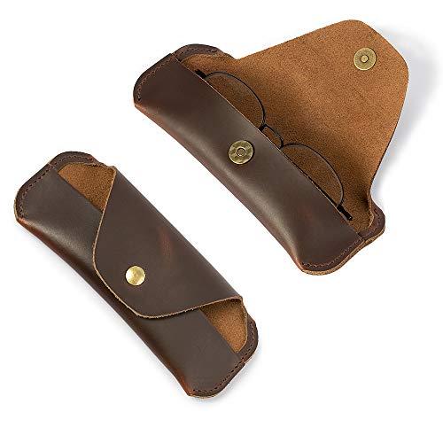 Dboar Eyeglasses Case Soft for Man Women Crazy Horse Leather Vintage Sunglasses Storage Case Handmade Eyewear Protective Holder Brown