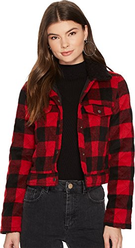 Jack by BB Dakota Women's Cicily Buffalo Plaid Jacket with Sherpa Collar Ribbon Red Medium