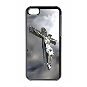 iPhone 5C Case,God Jesus Christ & Christian Cross & Beautiful Clouds Design Cover With Hign Quality Hard Plastic Protection Case