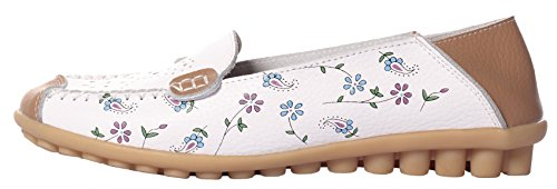 Moccasins MEWOOCUE Women's Leather Flat Loafer White Casual Shoes Driving Loafers Penny On Slip wEwgdr1q