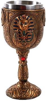 Pacific Giftware - Copa de vino con diseño egipcio - Faraón Tutankamón - Cáliz con recubrimiento de acero inoxidable - 175 ml: Amazon.es: Hogar