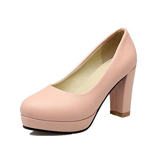 toe Weipoot Alti Solido Round Delle scarpe Rosa Donne Pull Pu Pompe on Tacchi R7qBxwWnXU