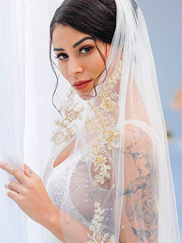 Yean Ivory Bridal Wedding Veil with Gold Lace Edge Bride Hair Accessories Fingertip Length Tulle Veils with Comb 1 Tier