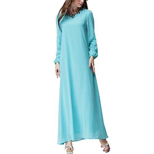 Buy light blue and brown dress - 1