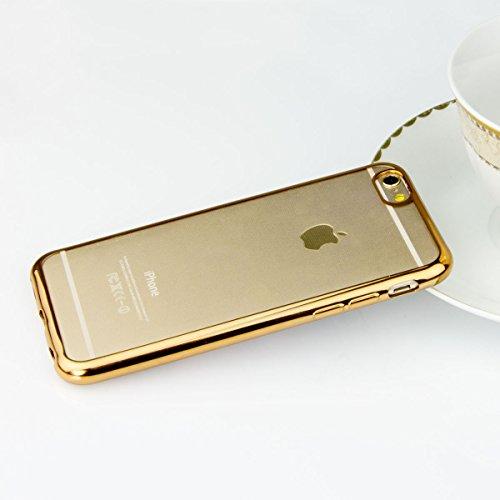 Silicone TPU cromo Case per cellulare metallico Custodia Back Case Trasparente con Bordo di colori Cover Crystal Cover posteriore Sparkles Bumper, Plastica, gold + Glas, für iPhone 6/6S Plus 5.5