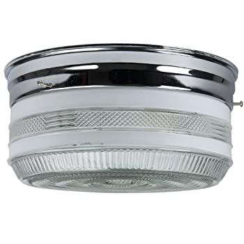 Sunlite KIT10/CH 10-Inch Kitchen Ceiling Fixture, Chrome Finish with Semi-Frosted Drum