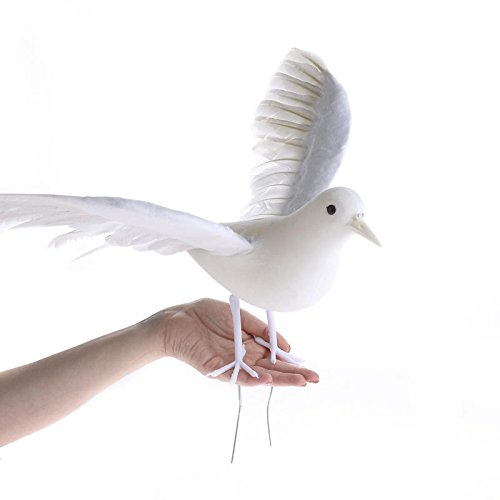 Open Winged Artificial White Dove Bird with Wired Feet for Displays, Decorating and Embellishing