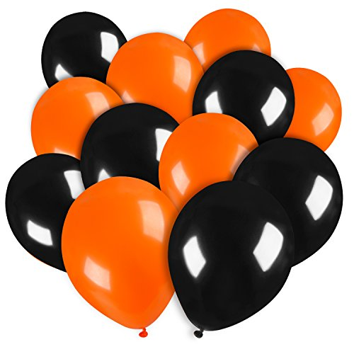 Black And Orange Party Decorations (Sumind 50 Pack 10 Inch Latex Balloons Halloween Home Decorations Balloons for Wedding Party Decor Birthday Halloween Balloons (Orange and Black))