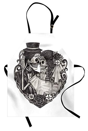 VANKINE Tattoo Apron, Skull Wedding Day of Dead Couple Bride and Groom Endless Love Vintage Artwork Print, Unisex Kitchen Bib Apron with Adjustable Neck for Cooking Baking Gardening, Ash -