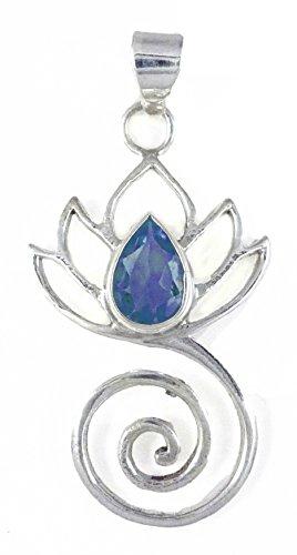 Lotus Flower Swirl Pendant Healing Stone Sterling Silver (Iolite)