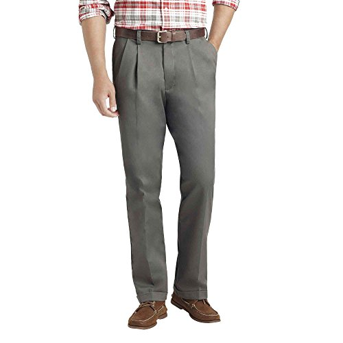 Heritage Mens Pants (IZOD Men's Heritage Chino Classic Fit Pleated Pant 38 x 34 Olive)