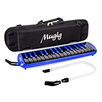 Melodica, Mugig 32-keys Melodica with Carrying Case, C key, Piano/Keyboard Enlightening Instrument, Portable, Suitable for Practice Teaching or Stage Performance (Blue/Black)