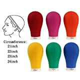 22 Inch Canvas Block Head Mannequin Head with Stand Colorful Wig Head Set for Wig Making Display Styling Poly Manikin Head with Mount Hole