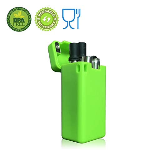 Collapsible Drinking Straw Reusable Folding Safety Raw Materials Meet Medical-Grade Food-Grade Collapsible Portable Stainless Straw with Hard Case Cleaning Brush (Green) by Pentray