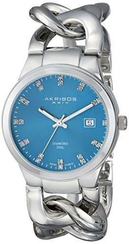 Akribos XXIV Women's AK759SSTQ Swiss Quartz Movement Watch with Blue Sunburst Effect Dial and Silver Twist Chain Bracelet