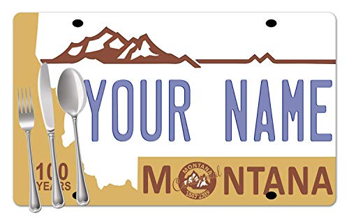 - BRGiftShop Personalized Custom Name Montana State License Plate Set of 4 Table Placemats
