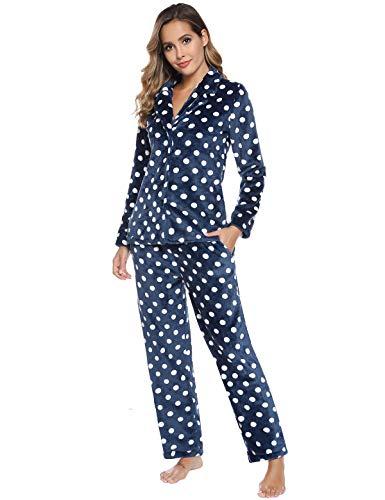 Abollria Women's Cute Polka Dot Pajamas Set Long Sleeve Sleepwear Flannel Button Down Loungewear Pjs Set