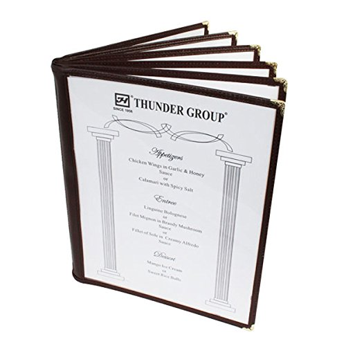 20 Non-Toxic Restaurant Menu Cover Fold 8.5X11 Brown Trim 6 Page 12 View Cafe by Thunder Group