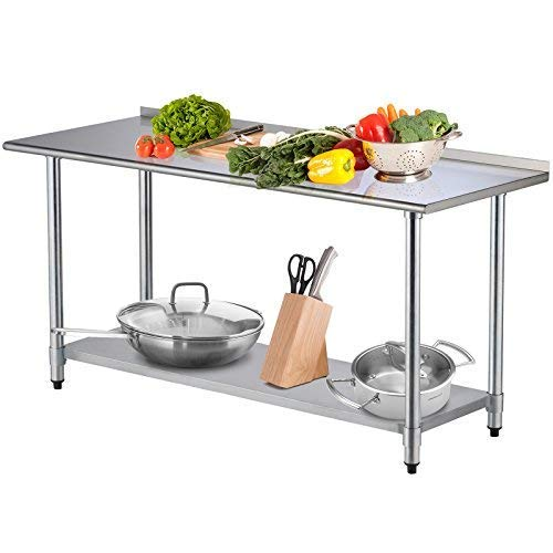 Workbench 72in (SUNCOO Commercial Stainless Steel Work Table Food Grade Kitchen Prep Workbench Metal Restaurant Countertop Workstation with Adjustable Undershelf 72 in Long x 30 in Deep W/Backsplash)