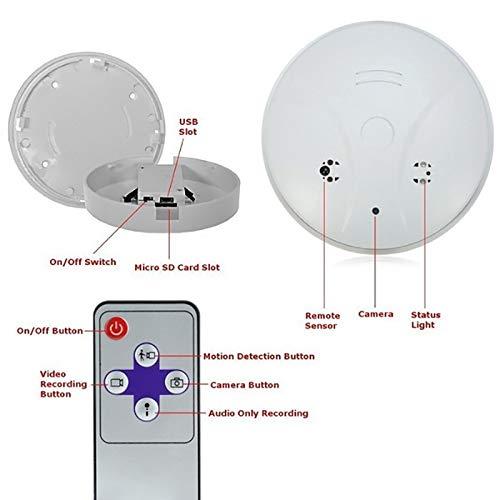 Lincong - Detector de Humo Mini Spy Camera Spy Camera Hidden vigilancia cámara HD 1080P Seguridad Interior con Detector de Movimiento y Mando a Distancia: ...
