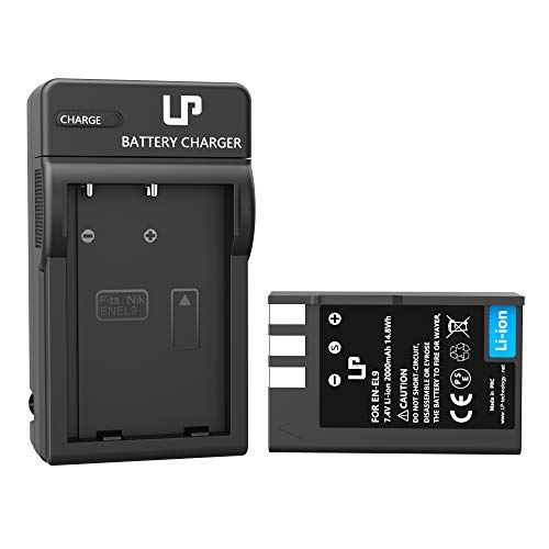 LP EN-EL9 EN EL9a Battery Charger Set, Compatible with Nikon D40, D40X, D60, D3000, D5000 Cameras, Rechargeable Lithium-Ion Battery, Replacement for Nikon EN EL9, EN-EL9a Battery and MH-23 Charger