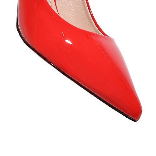 Balamasa Ladies Spikes Stiletto Tomaia Low-cut Pull-on Urethane Pumps-shoes Rosso