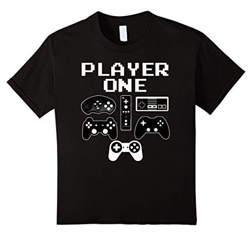 [Kids PLAYER ONE Funny Video Game Halloween Costume Gamer T Shirt 12 Black] (Best Video Games Costumes)