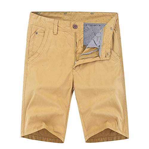 (Forthery Men Work Short Loose Fit Multi-Pocket Pure Color Cotton Pants(Khaki,US Size 36 = Tag)