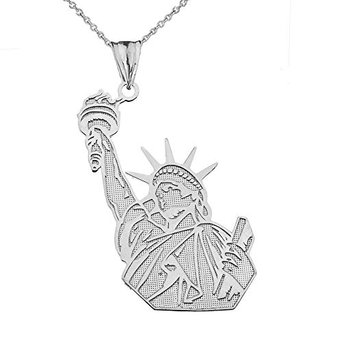 Fine Sterling Silver Statue of Liberty Pendant Necklace, 22