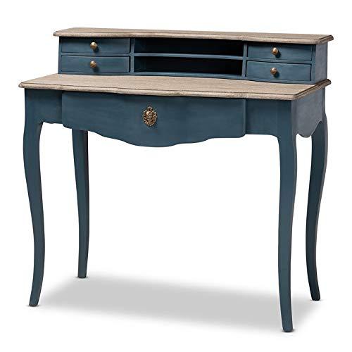 Baxton Studio Celestine Blue Spruce Finished Wood Accent Writing Desk
