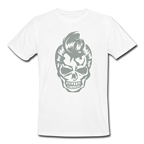 MozFashion Men's A Skull With A 50s Haircut T-Shirts White XL (50s Haircuts)