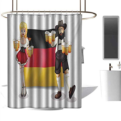 (Shower Curtains Under 20 German,German Flag with Man and Woman in Traditional Clothes European Culture Illustration,Multicolor,W72 x L96,Shower Curtain for Shower)