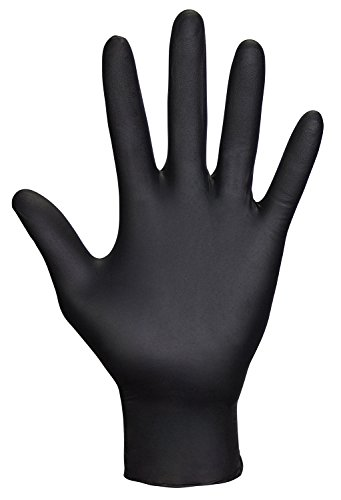 (SAS Safety 66518 Raven Powder-Free Disposable Black Nitrile 6 Mil Gloves, Large, 100 Gloves by Weight)