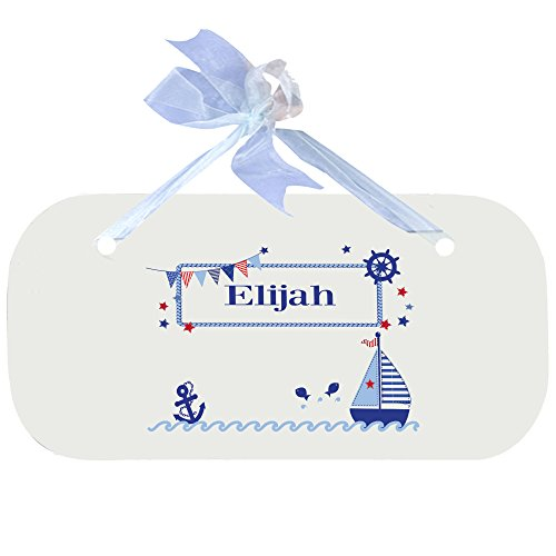 Personalized Boys Sailboat Nursery Door Hanger Plaque with blue ribbon by MyBambino