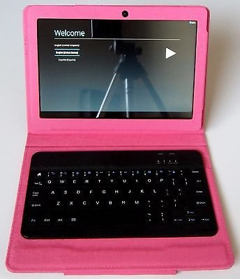 """NuVision 10.1"""" 2-in-1 High Definition Pink Tablet with Keyboard and Case"""