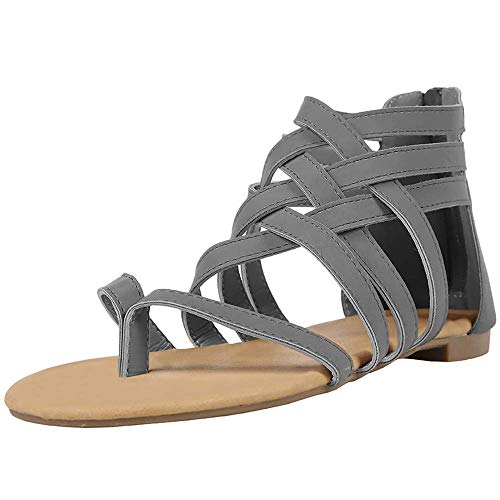 Xiakolaka Womens Strappy Sandals Flat Gladiator Cross Strap Thong Toe Shoes Grey
