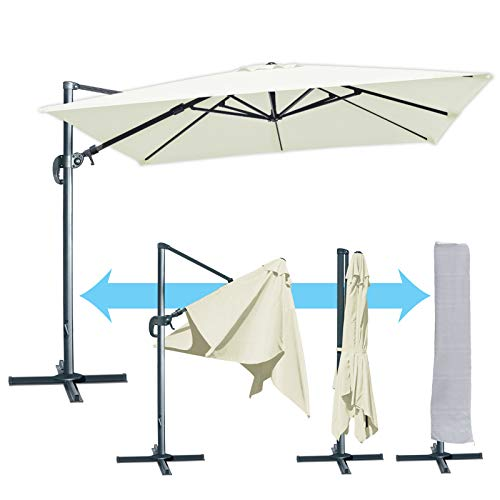 BenefitUSA 11.5' Deluxe Patio Umbrella Outdoor Off-Set Hanging Roma Umbrella Tilt & 360 Rotation Patio Heavyduty Sunshade Cantilever Crank(Steel Cross Base is Included) ()