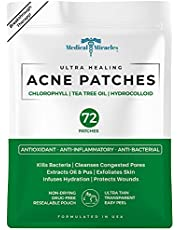 NEW- Ultra Healing Chlorophyll, Tea Tree Oil and Hydrocolloid Acne 72 Patches by Medical Miracles. Face Healing Patch Treatment for Absorbing Zits, Pimples, Cystic Spots, Blemishes