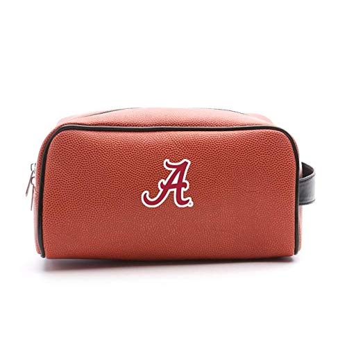 Zumer Sport Alabama Crimson Tide Basketball Leather Travel Toiletry Kit Zippered Pouch Bag - made from the same exact materials as a basketball - Orange ()