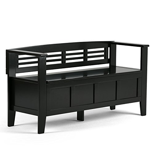 Simpli Home Adams Solid Wood 48 inch Wide Rustic Entryway Storage Bench in Black