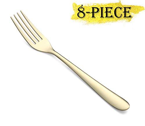 - Gold Dessert Forks Set of 8, Stainless Steel 7-Inch Salad Fruit Forks, 8-Piece Dessert Forks Mirror Finish Appetizer Forks, Dishwasher Safe(Golden)