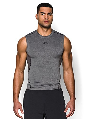 Under Armour Men's HeatGear Armour Sleeveless Compression Shirt, Carbon Heather/Black, Large