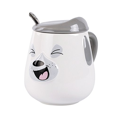 Laugh Dog Mug, Hand Painted Embossed 3D Ceramic Coffee Mug Cup with Lid and Spoon, gray, (Mrs.) -17 oz - Best Cute Gifts for Mom, Dad, Husband, Wife, Boyfriend, Girlfriend or Coworkers