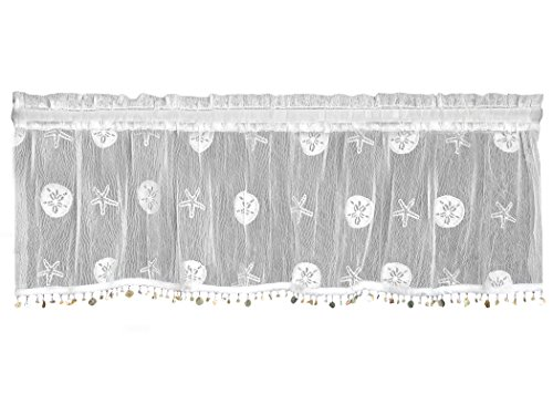 Heritage Lace Sand Dollar Valance with Trim, 45 by 15-Inch, White