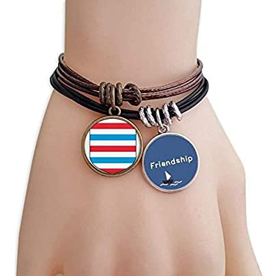 YMNW Luxembourg Europe National Emblem Friendship Bracelet Leather Rope Wristband Couple Set Estimated Price -