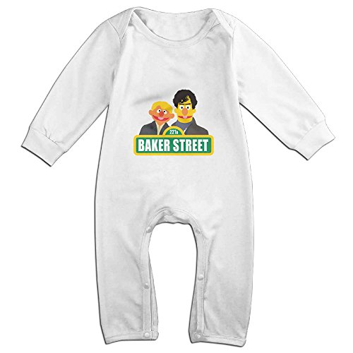 [Raymond Baker Street Long Sleeve Bodysuit Baby Onesie White 12 Months] (Dwayne Johnson Baby Costume)