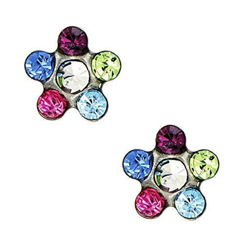 Crystal Daisy Piercing Earrings - Studex Tiny Tips Rainbow Crystal 5mm Daisy Stainless Steel Childrens Hypo-allergenic Stud Earrings