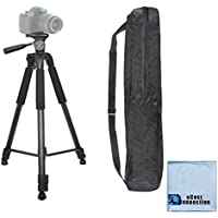 75 Inch Elite Series Full Size Camcorder Tripod For Canon, Nikon, Samsung, Olympus, Panasonic, Pentax & eCostConnection Microfiber Cloth